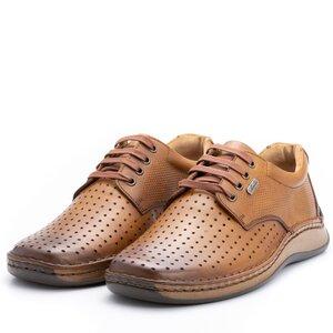 Pantofi casual barbati din piele naturala,Leofex-594 Camel Box