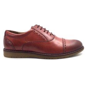 Pantofi casual barbati din piele naturala, Leofex - 842 visiniu deschis