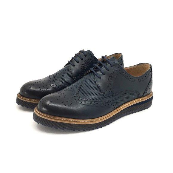 Pantofi casual barbati din piele naturala, Leofex - 846 Blue Box