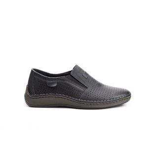 Pantofi casual barbati, perforati din piele naturala,Leofex - 595 Negru Box