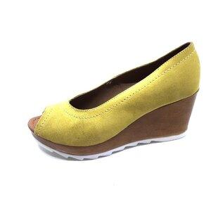 Pantofi casual cu platforma dama din piele naturala, Leofex - 531-1 Galben Velur