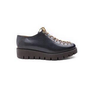 Pantofi casual cu siret pana in varfdama din piele naturala, Leofex - 194 Gri inchis Box