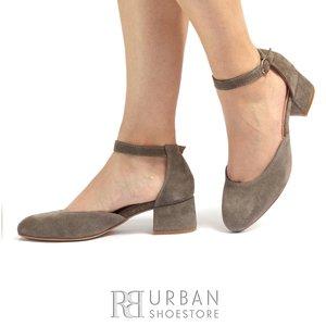 Pantofi casual cu toc dama de piele naturala, Leofex - 221 Taupe Velur