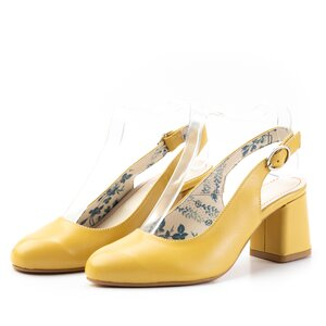 Pantofi casual cu toc dama, decupati din piele naturala, Leofex - 254 galben box