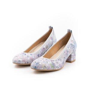Pantofi casual cu toc dama din piele naturala,Leofex-231 Azur Box Flori