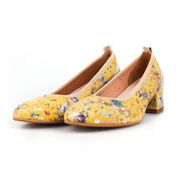 Pantofi casual cu toc dama din piele naturala,  Leofex - 231 Galben