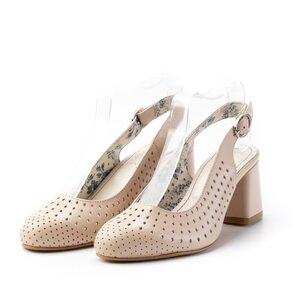 Pantofi casual cu toc dama din piele naturala, Leofex - 247 nude box