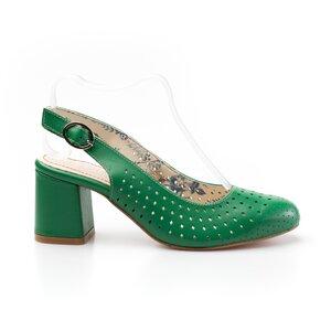 Pantofi casual cu toc dama din piele naturala, Leofex - 247 verde box