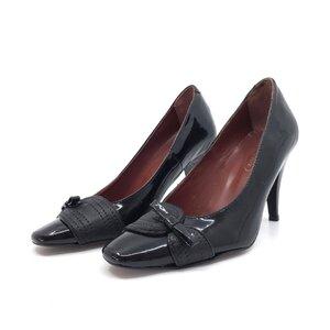 Pantofi casual cu toc dama din piele naturala, Leofex - 747 negru lac velur