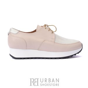 Pantofi casual dama din piele naturala, Leofex - 102 Bej-Auriu box