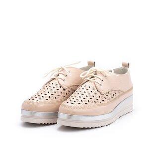 Pantofi casual dama din piele naturala, Leofex - 240 Nude Box