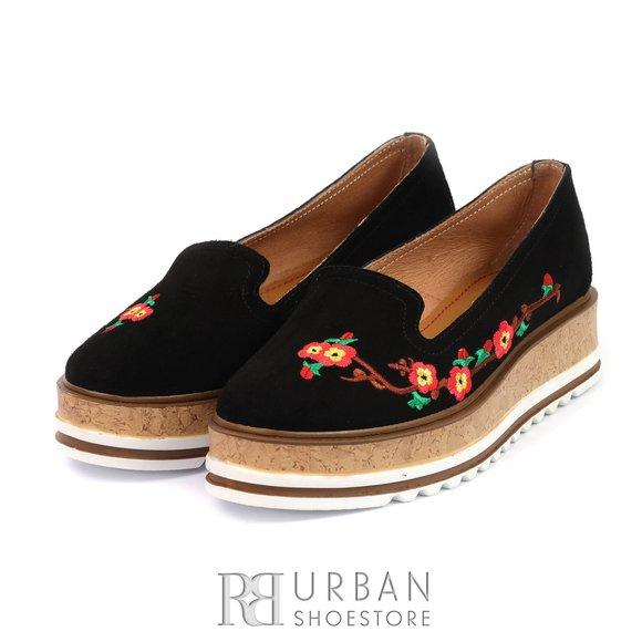 Pantofi casual din piele intoarsa - 024-2 negru velur