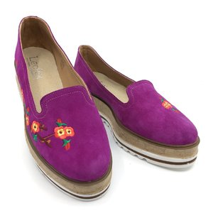 Pantofi casual din piele intoarsa - Mostra Mov Velur Brodat