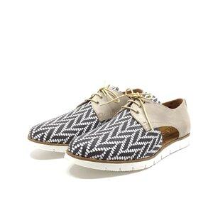 Pantofi casual din piele naturala - 022 bej zebra box