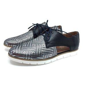 Pantofi casual din piele naturala - 022 Negru Box Zebra