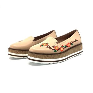 Pantofi casual dama din piele naturala,Leofex - 024-2 Bej Box