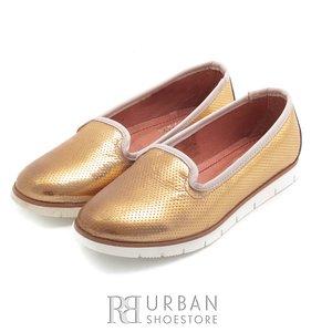 Pantofi casual din piele naturala - 024- auriu+ gri box