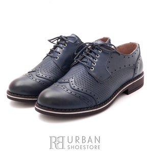 Pantofi casual din piele naturala - 095 blue