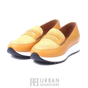 Pantofi casual din piele naturala -   100 Galben  Serigrafiat