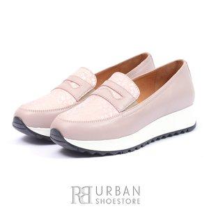 Pantofi casual din piele naturala - 100 Mov Serigrafiat