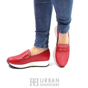 Pantofi casual din piele naturala - 100 Rosu Serigrafiat