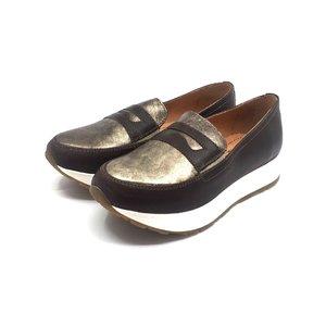 Pantofi casual din piele naturala - 100 Taupe cu Auriu Box