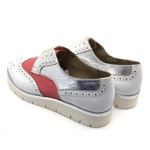 Pantofi casual din piele naturala - 173 Roz Alb Argintiu