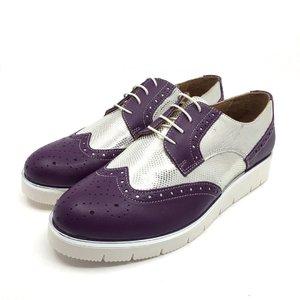 Pantofi casual din piele naturala - 173 Violet Argintiu