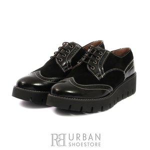 Pantofi casual din piele naturala - 180 negru florantic cu velur