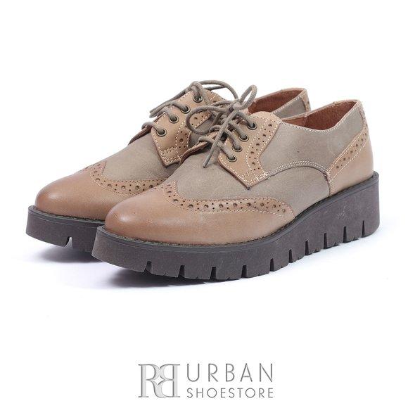 Pantofi casual din piele naturala - 180 taupe cu gri box