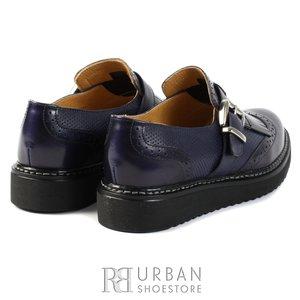 Pantofi casual din piele naturala - 402 blue