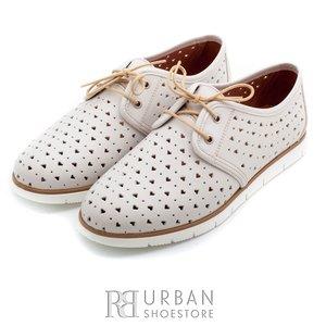 Pantofi casual din piele naturala - 406-1 bej