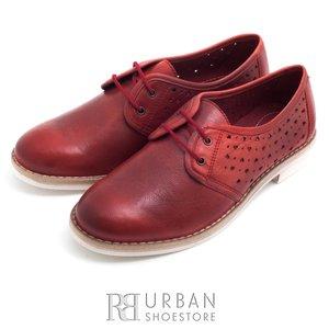 Pantofi casual din piele naturala - 407 visiniu