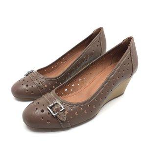 Pantofi casual din piele naturala cu perforatii - 275 Taupe Box