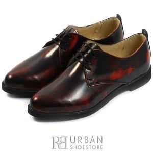Pantofi casual din piele naturala lacuita - 605 rosu