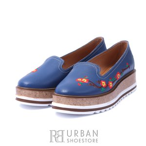 Pantofi casual din piele naturala Leofex- 024-2 albastru box