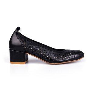 Pantofi casual cu toc dama, perforati din piele naturala, Leofex - 248 Negru