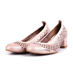 Pantofi casual cu toc dama, perforati din piele naturala, Leofex - 248 Nude Metalizat