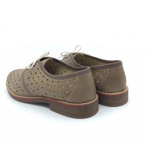 Pantofi casual  perforati din piele naturala - 406-2 Taupe Inchis