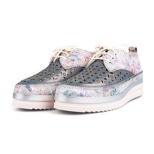 Pantofi casual perforati din piele naturala Leofex-240 Gri Box Floral