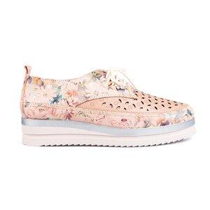 Pantofi casual perforati din piele naturala Leofex-240 Nude Box Floral