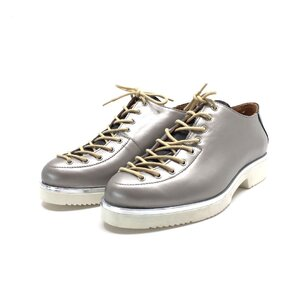 Pantofi cu siret pana in varf Leofex- 194 -1 argintiu sidef lac