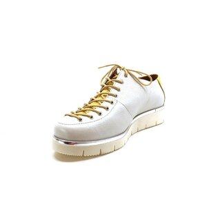 Pantofi cu siret pana in varf Leofex- 194 -2 alb + galben box