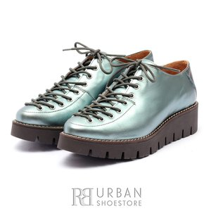 Pantofi cu siret pana in varf Leofex- 194   Albastru Sidefat
