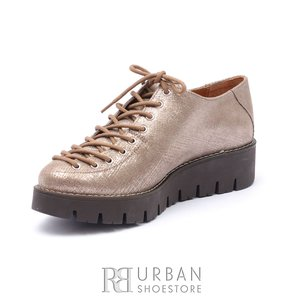 Pantofi cu siret pana in varf Leofex- 194  Auriu