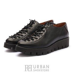 Pantofi casual dama cu siret pana in varf din piele naturala,Leofex- 194 Negru Box