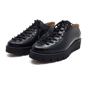 Pantofi casual dama cu siret pana in varf din piele naturala,Leofex- 194 Negru presat