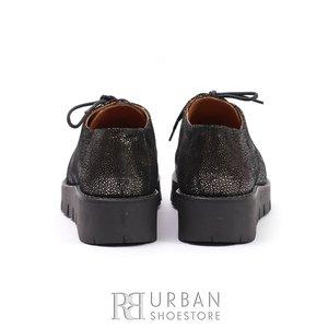 Pantofi cu siret pana in varf Leofex- 194 Negru Sidef
