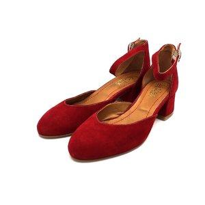 Pantofi dama casual din piele intoarsa Leofex - 221 Visiniu Velur