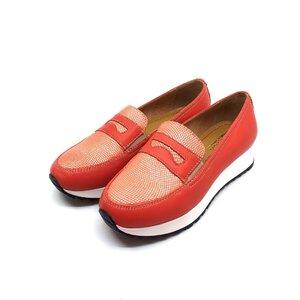 Pantofi dama casual din piele naturala - 100 Coral Serigrafiat